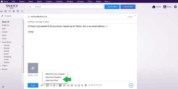 yahoo attach dropbox file