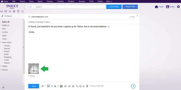 yahoo email with picture attached