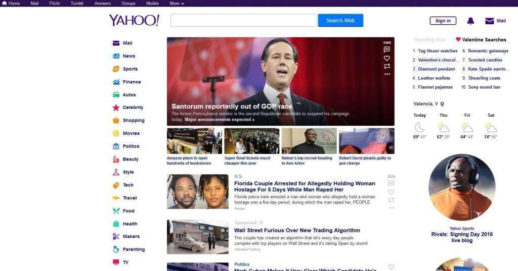 yahoo home page