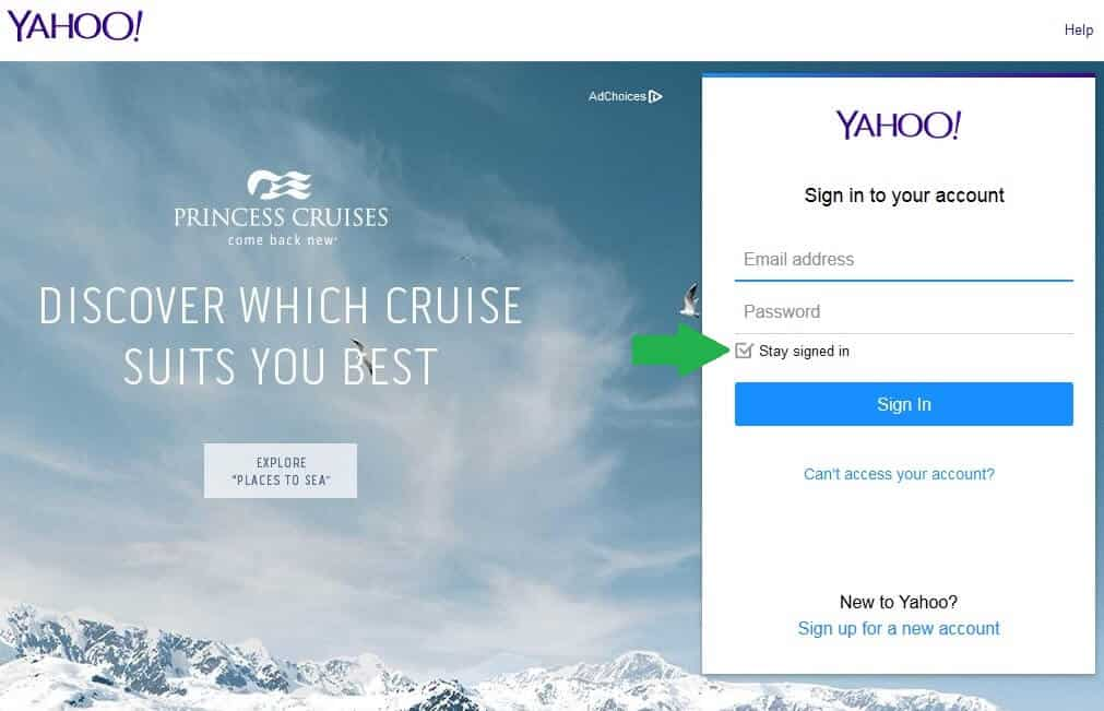 yahoo stay signed in