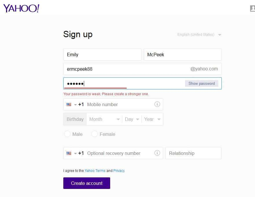 yahoo weak password