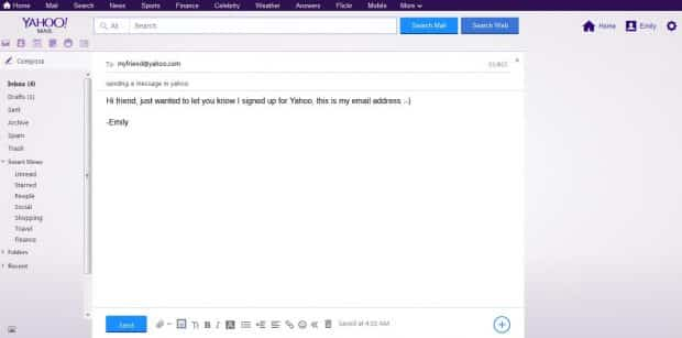 yahoo write your message