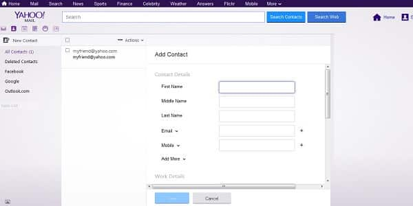 yahoo add new contact form