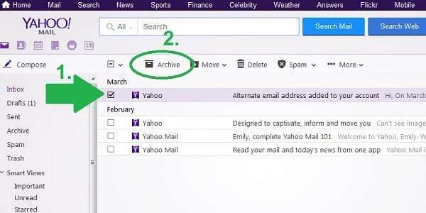 yahoo archive one message