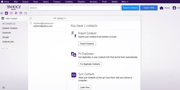 yahoo contacts page