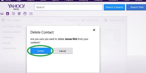 yahoo delete contact confirmation