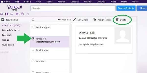 yahoo delete contact page