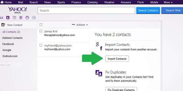 yahoo import contacts