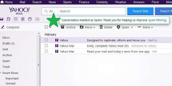 yahoo mail conversation marked as spam