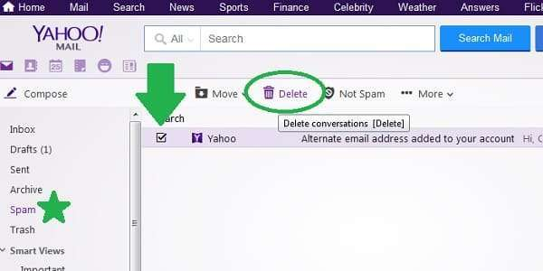 yahoo mail delete spam
