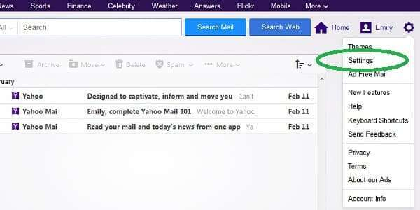 yahoo mail forwarding settings menu