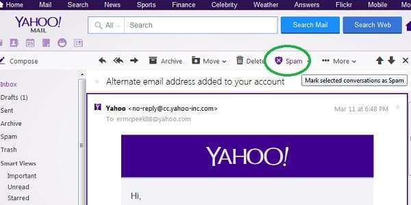 yahoo mark email as spam