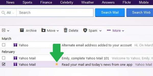 yahoo message starred
