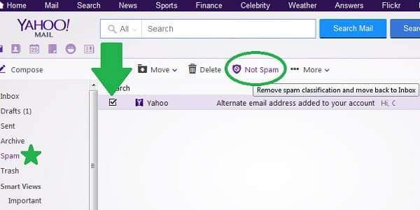 yahoo not spam