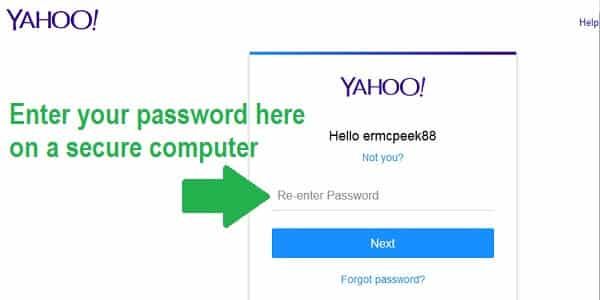 yahoo account secuty password