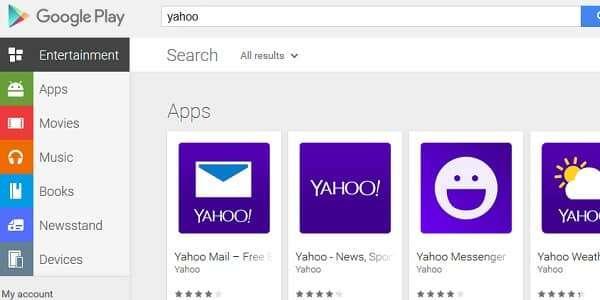 yahoo app google play