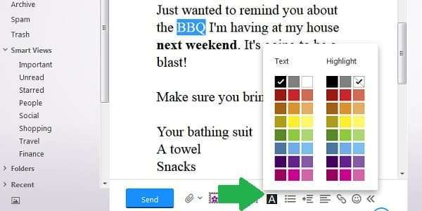 yahoo email font color