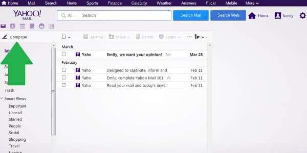 yahoo email formatting compose