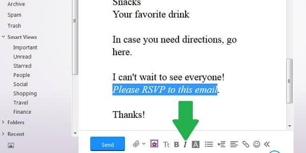 yahoo email italics