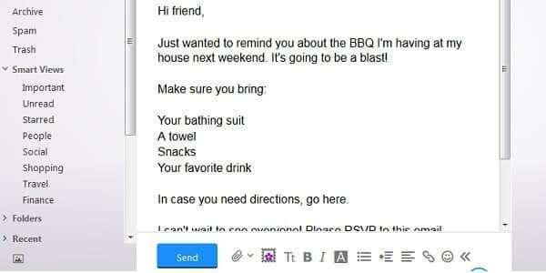 yahoo email plain text