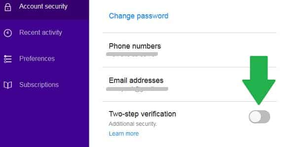yahoo security two step verification